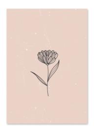 Kaart | Bloem roze