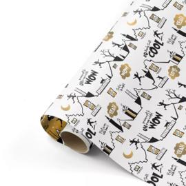 Inpakpapier | Cool sint - wit/zwart