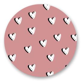 Sticker   Hartjes roze   5 stuks