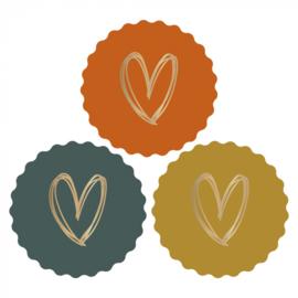 Sticker   Heart gold bright   6 stuks