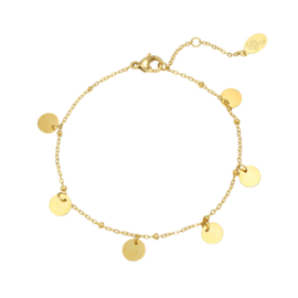 Armbandje - round and round - goudkleurig