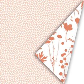 Kadopapier 'spring cubes' - peach - 3 meter