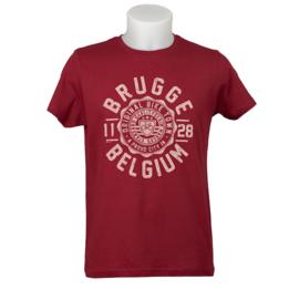 T-shirt Brugge Stempel Fiets - Bordeaux