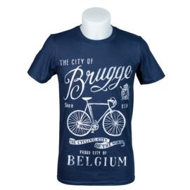 T-shirt Brugge Fiets - Blauw