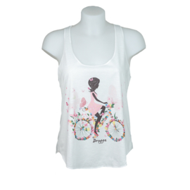 Tanktop Lady's Bicycle Bruges - Cream