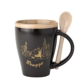 Bruges Cup - Matt Black / Gold with spoon - 2 Designs