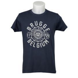 T-shirt Brugge Stempel Fiets - Blauw