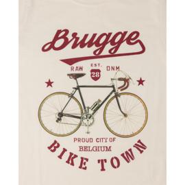 T-shirt Brugge fiets - Gebroken Wit