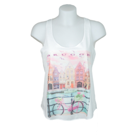 Tanktop Lady's Houses with bicycle - Cream