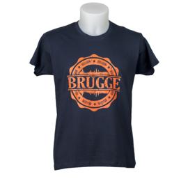 T-shirt Brugge Stempel Skyline - Blauw
