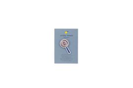 Geborduurde pin - Vergrootglas - Sticky Lemon