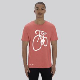T-Shirt Fiets - Koraalrood