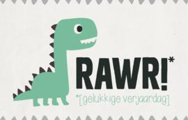 RAWR! gelukkige verjaardag - Wenskaart - Leuke Kaartjes