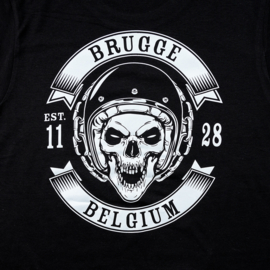 Hooded sweater Brugge Skull Biker - Black