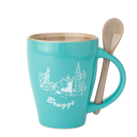 Bruges Cup - Aqua with spoon - 2 Designs