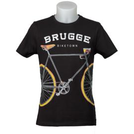 T-shirt Brugge fiets - Zwart