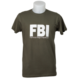 T-shirt bier FBI - Famous Beer Inspector - Kaki