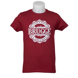 T-shirt Brugge stempel skyline - bordeaux