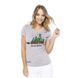 T-Shirt Ladies Cactus - Grijs