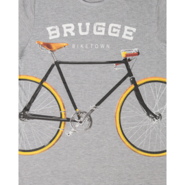 T-shirt Brugge fiets - Grijs