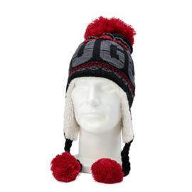 Winter Hat with pompon Brugge - Black/Red