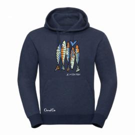 Sweatshirt met kap - Je m'en Fish - Blauw
