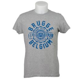 T-shirt Brugge Stempel Fiets - Grijs