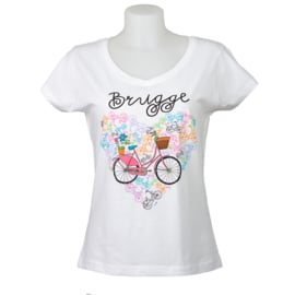 T-shirt Women Bike Heart - White