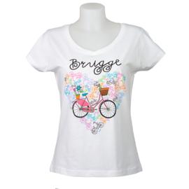 T-shirt Dames fiets hart - Wit