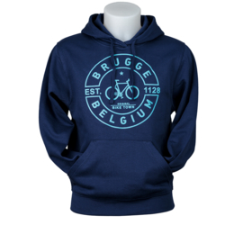 Hooded sweater Brugge bicycle puff - dark blue