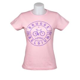 T-shirt Dames Stempel Fiets - Rose