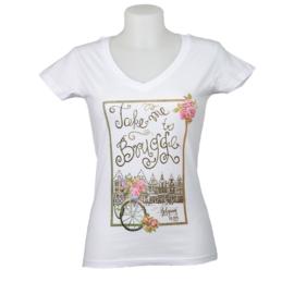 T-shirt Dames - Take me to Brugge - Wit