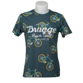 T-shirt Brugge fietsen - Petrol