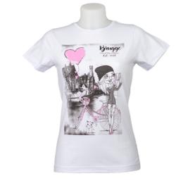 T-shirt Dames Brugge  selfie - Wit