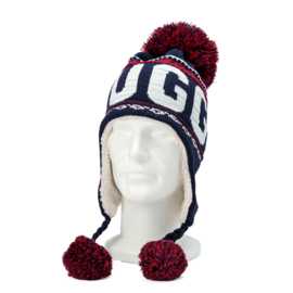 Winter Hat with pompon Brugge - Blue/Red