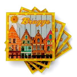 Set glazen onderzetters Huisjes Brugge