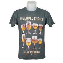 T-shirt Bier Multiple Choice - Grijs