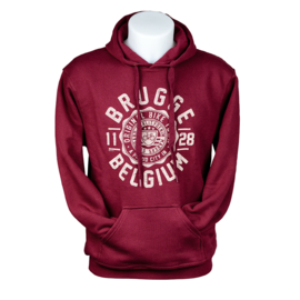 Hooded sweater Brugge Stamp Bicycle - Burgundy