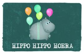 Hippo hippo hoera - Wenskaart - Leuke Kaartjes