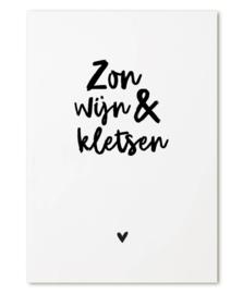 Kaart met tekst 'Zon, wijn & kletsen'
