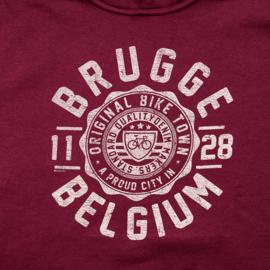 Hooded sweater Brugge Stamp Bicycle - Burgundy