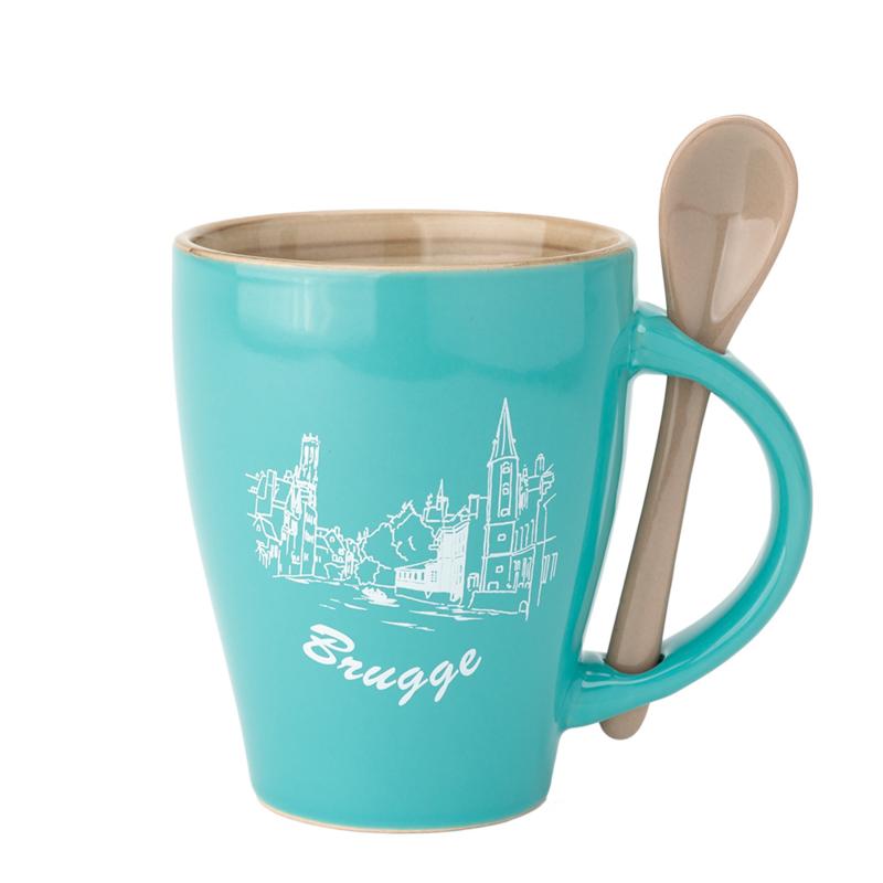 Beker Brugge - Aqua met lepel - 2 Ontwerpen
