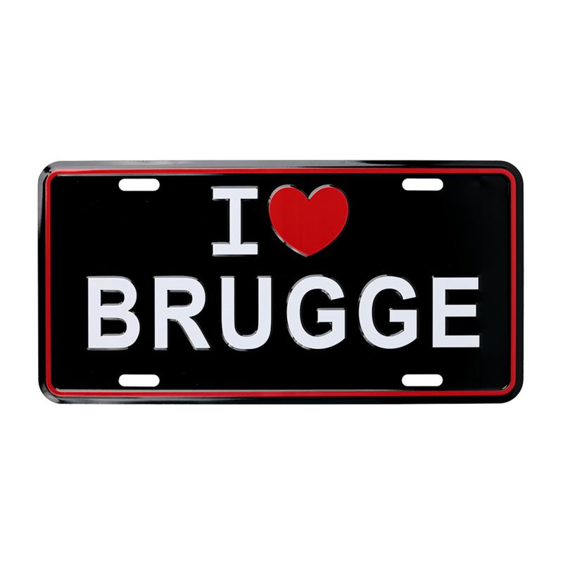 Nummerplaat I 'haert' Brugge - Zwart