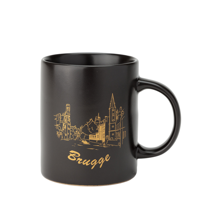 Beker Brugge - Mat Zwart/Goud - 2 Ontwerpen