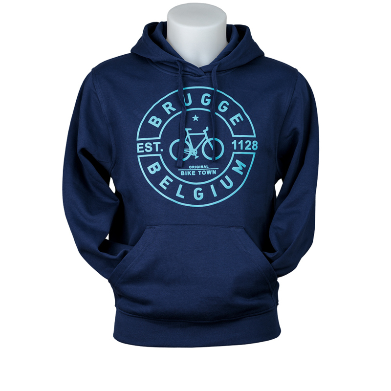 Hooded sweater Brugge fiets puff - donker blauw
