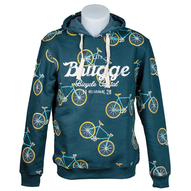 Hooded sweater Brugge Fietsen - Petrol