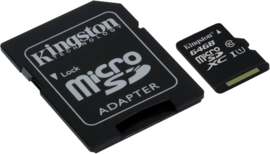 Kingston 64GB Micro SD kaart incl. adapter