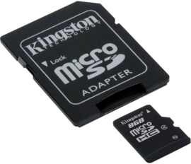 Kingston 8GB Micro SD kaart incl. adapter