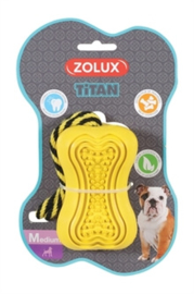 Zolux titan rubber speelgoed aan touw  geel 37,5X7,5X7 CM