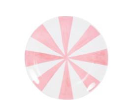 Even bijkletsen: Taartbord 18 cm - roze strepen